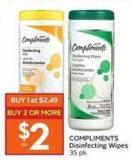 Compliments Disinfecting Wipes