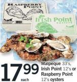Malpeque 33's - Irish Point 12's Or Raspberry Point 12's Oysters