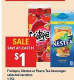 Fruitopia - Nestea Or Peace Tea Beverages - 1.75 L