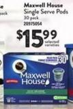 Maxwell House Single Serve PODS - 30 Pack