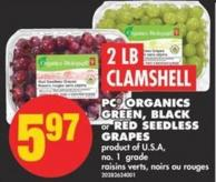 Clamshell PC Organics Green - Black or Red Seedless Grapes