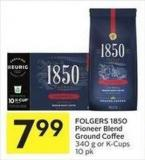 Folgers 1850 Pioneer Blend Ground Coffee 340 g or K-cups 10 Pk