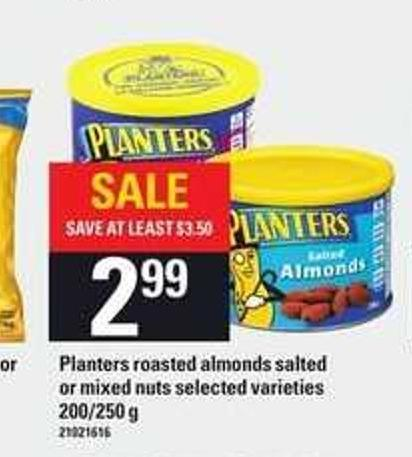 Planters Roasted Almonds Salted Or Mixed Nuts - 200/250 g
