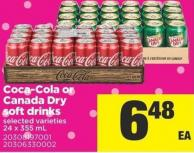 Coca-cola or Canada Dry Soft Drinks - 24 X 355 mL