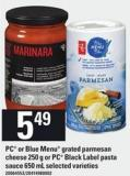 PC Or Blue Menu Grated Parmesan Cheese - 250 G Or PC Black Label Pasta Sauce - 650 Ml