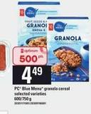 PC Blue Menu Granola Cereal - 600/750 g