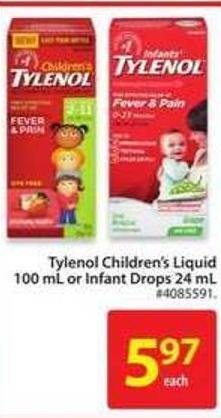 Tylenol Children's Liquid 100 mL or Infant Drops 24 mL