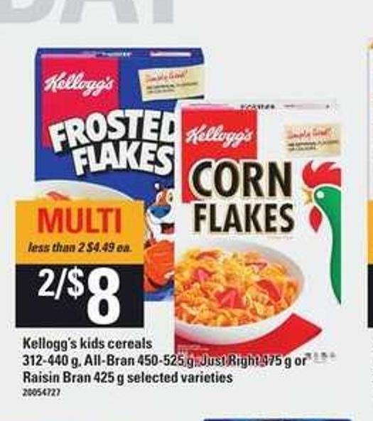 Kellogg's Kids Cereals 312-440 g - All-bran 450-525 g - Just Right 475 g or Raisin Bran 425 g