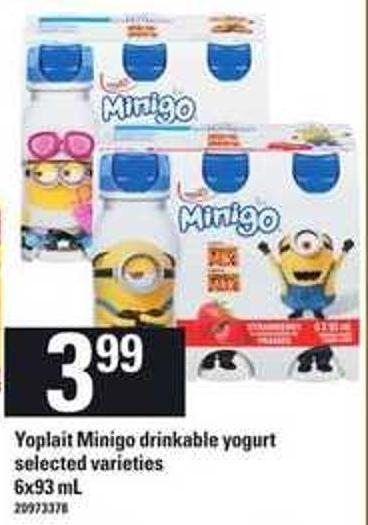 Yoplait Minigo Drinkable Yogurt - 6x93 mL