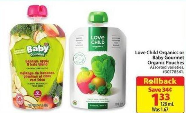 Love Child Organics or Baby Gourmet Organic Pouches