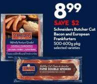 Schneiders Butcher Cut  Bacon and European  Frankfurters  500-600g Pkg