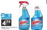 Windex 765 mL - Refill 950 mL or Wipes 28 Pk - 15 Air Miles Bonus Miles