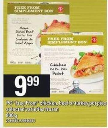 PC Free From Chicken - Beef Or Turkey Pot Pies - 800 g