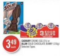 Cadbury Creme Egg (3's) or Allan Solid Chocolate Bunny (150g)