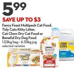 Fancy Feast Multipack Cat Food - Tidy Cats Kitty Litter -  Cat Chow Dry Cat Food or Beneful Dry Dog Food 1.02kg Bag - 6.35kg Jug