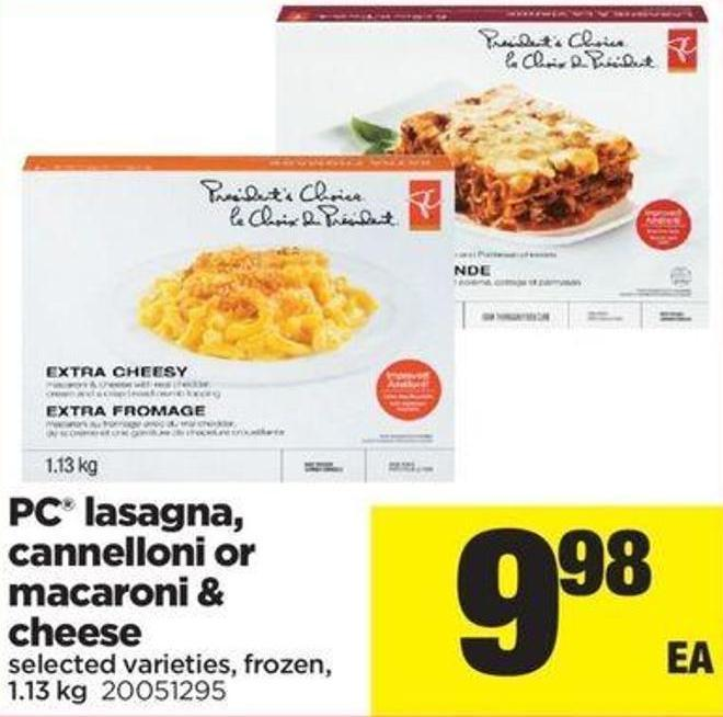 PC Lasagna - Cannelloni Or Macaroni & Cheese - 1.13 Kg