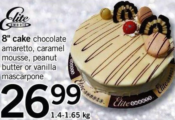 8in Cake Chocolate Amaretto - Caramel Mousse - Peanut Butter Or Vanilla Mascarpone - 1.4-1.65 Kg