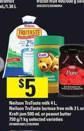 Neilson Trutaste Milk - 4 L - Neilson Trutaste Lactose Free Milk - 2 L Or Kraft Jam - 500 Ml Or Peanut Butter - 750 G/1 Kg