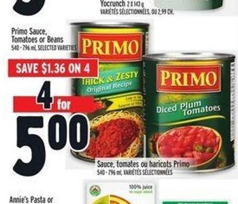 Primo Sauce - Tomatoes Or Beans
