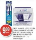 Crest 3D White 2-step System (148ml) - Fixodent Denture Adhesive Cream (2 X 68g) or Oral-b Precision Battery Toothbrush (1's - 2's)
