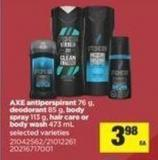 Axe Antiperspirant 76 G - Deodorant 85 G - Body Spray 113 G - Hair Care Or Body Wash - 473 Ml
