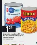 Unico Chick Peas - Beans - 540 Ml Or PC Blue Menu Tomatoes - 796 Ml