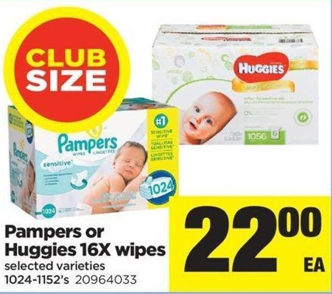 Pampers Or Huggies 16x Wipes - 1024-1152's