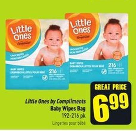 Little Ones By Compliments Baby Wipes Bag 192-216 Pk