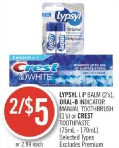 Lypsyl Lip Balm (2's) - Oral-b Indicator Manual Toothbrush (1's) or Crest Toothpaste (75ml - 170ml)