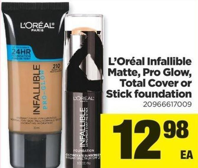 L'oréal Infallible Matte - Pro Glow - Total Cover Or Stick Foundation