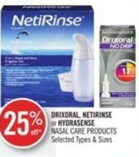 Drixoral - Netirinse or Hydrasense  Nasal Care Products