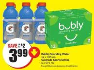 Bubbly Sparkling Water 12 X 355 mL Gatorade Sports Drinks 6 X 591 mL