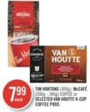 Tim Hortons (300g) - Mccafé (300g - 340g) Coffee or Selected Van Houtte K-cup Coffee PODS