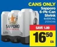 Sapporo 6-pk-can Shrink - 6x500 mL