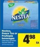 Nestea - Peace Tea Or Fruitopia Beverages - 12x341/355 mL