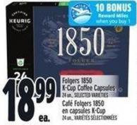 Folgers 1850 K-cup Coffee Capsules 24 Un. -