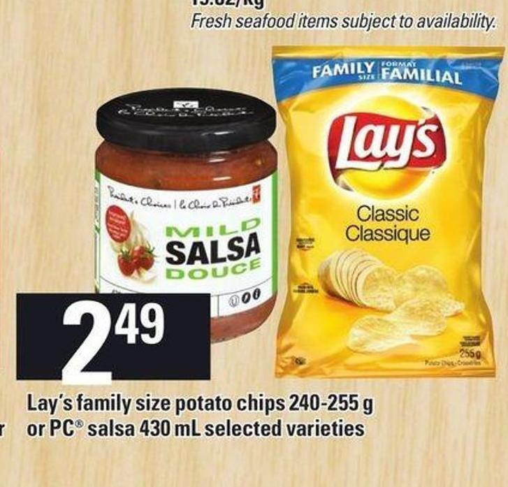 Lay's Family Size Potato Chips 240-255 g Or PC Salsa 430 Ml