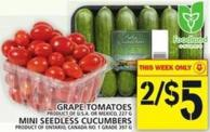 Grape Tomatoes Mini Seedless Cucumbers