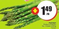 Asparagus Product of Mexico No.1 Grade 3.28/kg