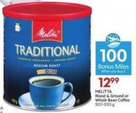 Melitta Roast & Ground or Whole Bean Coffee 907-930 g - 100 Air Miles Bonus Miles