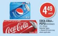 Coca-cola or Pepsi Beverages 12 X 355ml