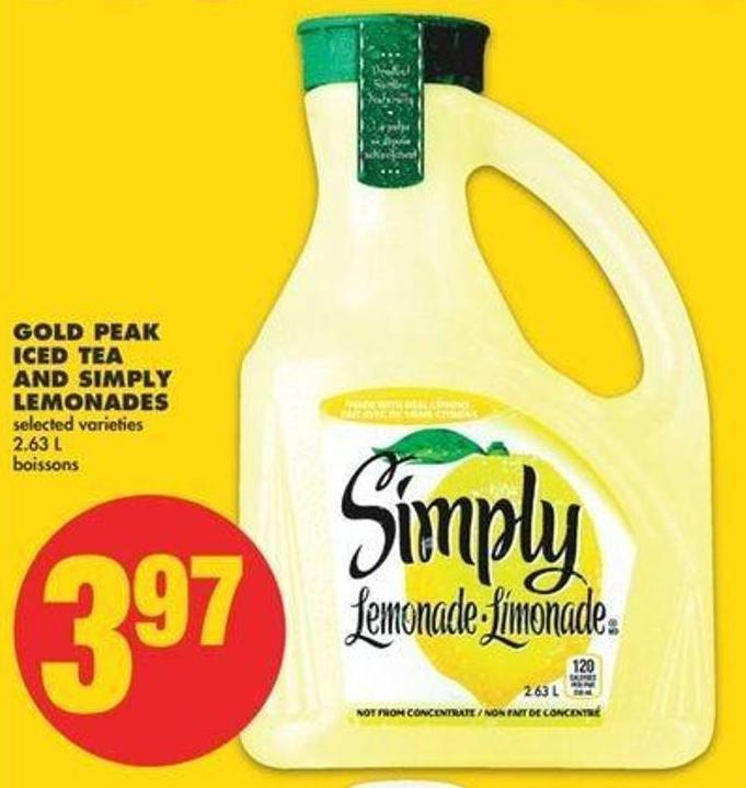 Gold Peak Iced Tea And Simply Lemonades - 2.63 L