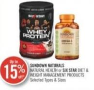 Sundown Naturals Natural Health or Six Star Diet & Weight Management Products