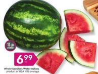Whole Seedless Watermelons Product of USA 11 Lb Average