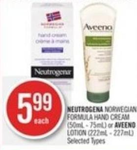 Neutrogena Norwegian Formula Hand Cream (50ml - 75ml) or Aveeno Lotion (222ml - 227ml)
