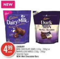 Cadbury Mini Chocolate Bars (133g - 200g) or Marvellous Mixes (150g - 200g)