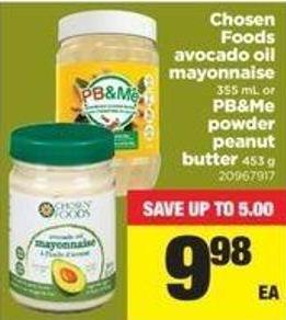 Chosen Foods Avocado Oil Mayonnaise - 355 Ml Or Pb&me Powder Peanut Butter - 453 G