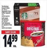 Tim Hortons Ground Coffee 875 - 930 G Or Starbucks K-cup Coffee Capsules 24 Un