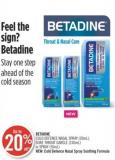 Betadine Cold Defence Nasal Spray (20ml) - Sore Throat Gargle (240ml) or Spray (50ml)