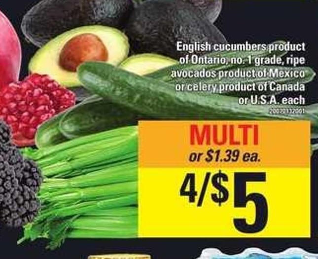 English Cucumbers Or Celery